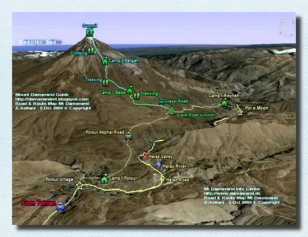 Mt Damavand Iran Road and Route Map