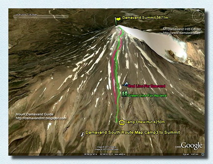 Damavand Camp3 to top Route Map