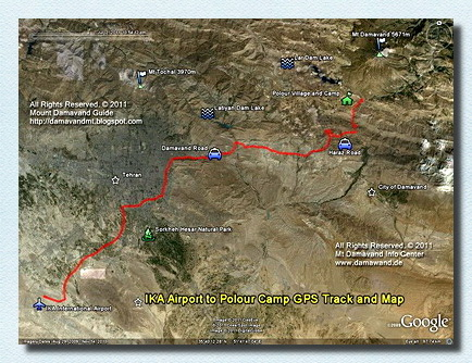 IKA Airport To Damavand First Camp Road GPS Track and Map