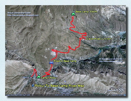 Damavand Camp1 Polour to Camp2 Road Map